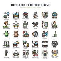 Inteligent Automotive dünne Linie Icons