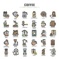 Cofee-element tunn linje färgikoner