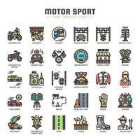 Motorsport dünne Linie Farbsymbole vektor
