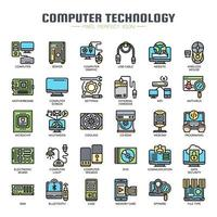 Computertechnologie-dünne Linie Ikonen