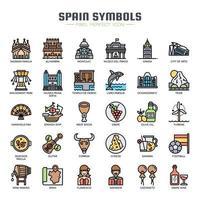 Spaniens symboler tunn linje ikoner vektor