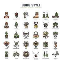 Boho stil tunn linje ikoner vektor