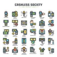 Cashless Society tunn linje ikoner