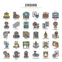 Casino Elements dünne Linie Icons