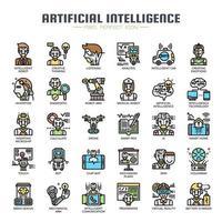 Konstgjord intelligens tunn linje ikoner