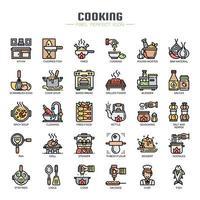 Matlagningselement tunn linje ikoner
