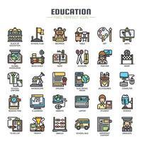Utbildning tunn linje ikoner vektor