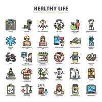 Gesundes Leben dünne Linie Icons vektor