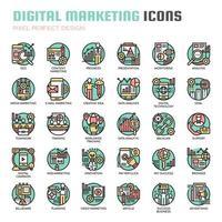 Tunn linjeikoner för digital marknadsföring