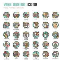 Webbdesign tunn linje ikoner