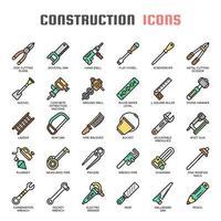 Bauwerkzeuge dünne Linie Icons vektor