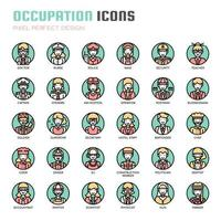 Ockupation tunn linje ikoner