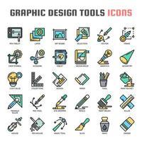Grafisk designverktyg tunn linje ikoner vektor