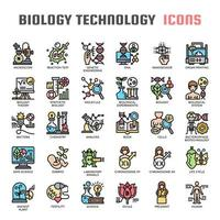 Biologiteknologi tunn linje ikoner vektor
