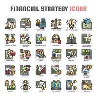 Finansiell strategi tunn linje ikoner