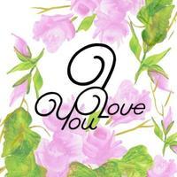 Aquarell-BlumenValentinsgruß ich liebe dich Hintergrund