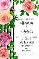 Blommig bröllopinbjudankort för akvarell vektor