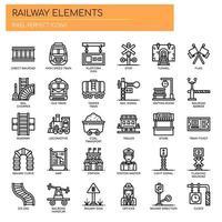 Järnvägselement tunn linje ikoner