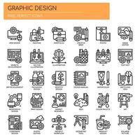 Grafikdesign-dünne Linie Ikonen