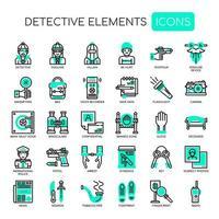 Detektivelement tunn linje ikoner