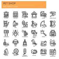 Husdjursbutik tunn linje ikoner