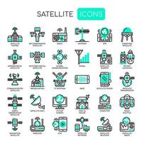Satellitelement tunn linje svartvita ikoner