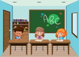 Studenter som arbetar på skrivbord i klassrummet vektor