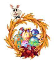 En påskdesigngräns med kanin, krans och färgade ägg