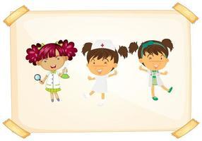 Doktor und Krankenschwester auf aufgenommenem Papier