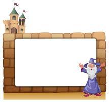 En trollkarl som står framför ett tomt tomt bräde på slottväggen vektor