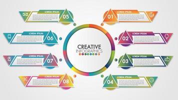Infographics tidslinje med 8 steg och branschutrustning vektor