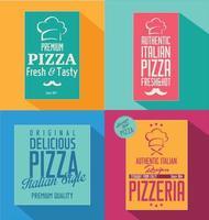 Retro bakgrundsdesign för pizza vektor