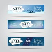 Uppsättning av banners för vinterdesignförsäljning med försäljningstext och snöflingabakgrund