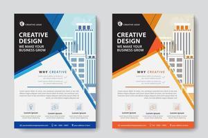 Blaue und orange abgewinkelte Firmenkundengeschäft-Schablone vektor