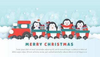 Julfirande med söta pingviner som sitter på tåget. vektor