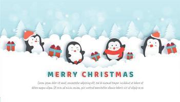 Julfirande med söta pingviner i snöskogen. vektor
