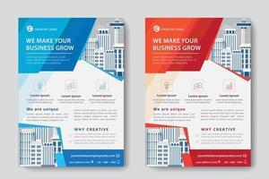 Platt röd och blå företagsmall