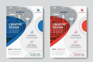 Röd och blå cirkulär design företags affärsmall