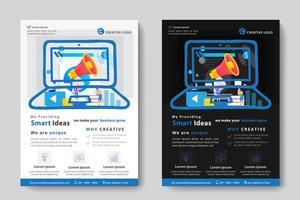 Firmenkundengeschäft-Schablone mit Megaphon in der Laptop-Form vektor