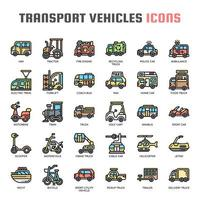 Transportfahrzeuge dünne Linie Icons vektor