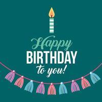 Grattis på födelsedagskortet med ljus och tofsar vektor