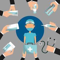 läkare omgiven av händer som håller medicinering och medicinska artiklar