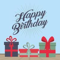 Alles Gute zum Geburtstagskarte mit Geschenkboxen