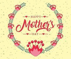 mors dagskort med blommig krans vektor