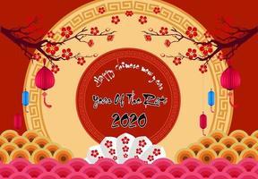 Chinesisches Neujahrsfest 2020 Jahr der Ratte. Blumen und asiatische Elemente.