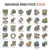 Business Analytics tunn linje och pixel perfekta ikoner vektor