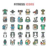 Fitness tunn linje ikoner