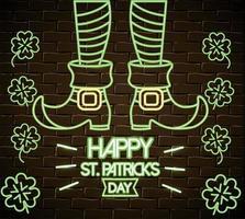 St Patrick Beine mit Stiefeln und Klee Neon Label