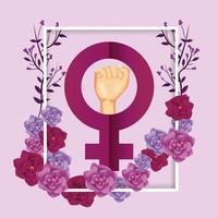 Rahmen mit Frauen Zeichen und Rosen Pflanzen zum Ereignis vektor