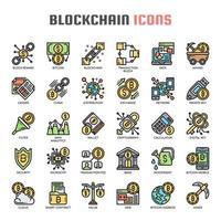 Blockchain dünne Linie Icons